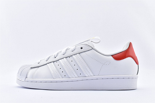 Adidas 三叶草 Superstar 贝壳头板鞋/2020新款 城市限定系列 白黄 红尾  货号:FW2854  男女鞋  情侣款