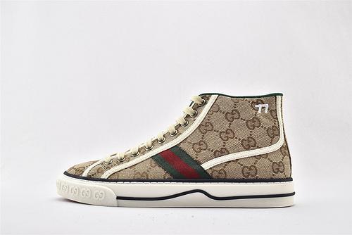 Gucci/古驰 Gucci 鼠年限定款 2020最新发售 经典帆布高帮板鞋/卡其灰绿 经典配色  男女鞋 情侣款