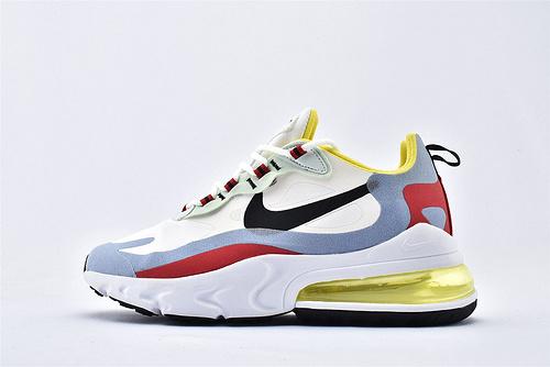 "Nike Air Max 270 React ""BAUHAUS"" 半掌小气垫气垫跑鞋/白黑浅蓝黄红 拼色 泡棉  芯片版  货号:AT6174-002  男女鞋  情侣款"