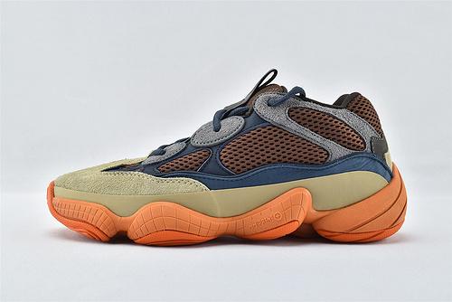 Adidas Yeezy 500 Blush 椰子500侃爷 复古老爹鞋/咖蓝 黄橙 拼色  2021年首发  货号:GZ5541   男女鞋  情侣款