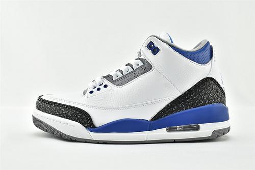 Air Jordan 3 SE AJ3 乔丹3代中帮篮球鞋/白蓝 赛车手 爆裂纹  原装版  货号:CT8532-145  男鞋