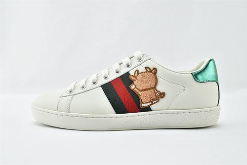 Gucci/古驰 小白鞋系列板鞋/ 经典 机器猫 刺绣 2021新款绿盒+原盒  版 芯片 原盒  男女鞋 情侣款