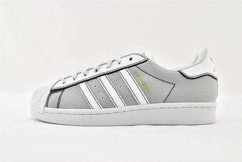 Adidas 三叶草 Superstar 贝壳头板鞋/帆布 灰白  货号:AJ7922  男女鞋  情侣款