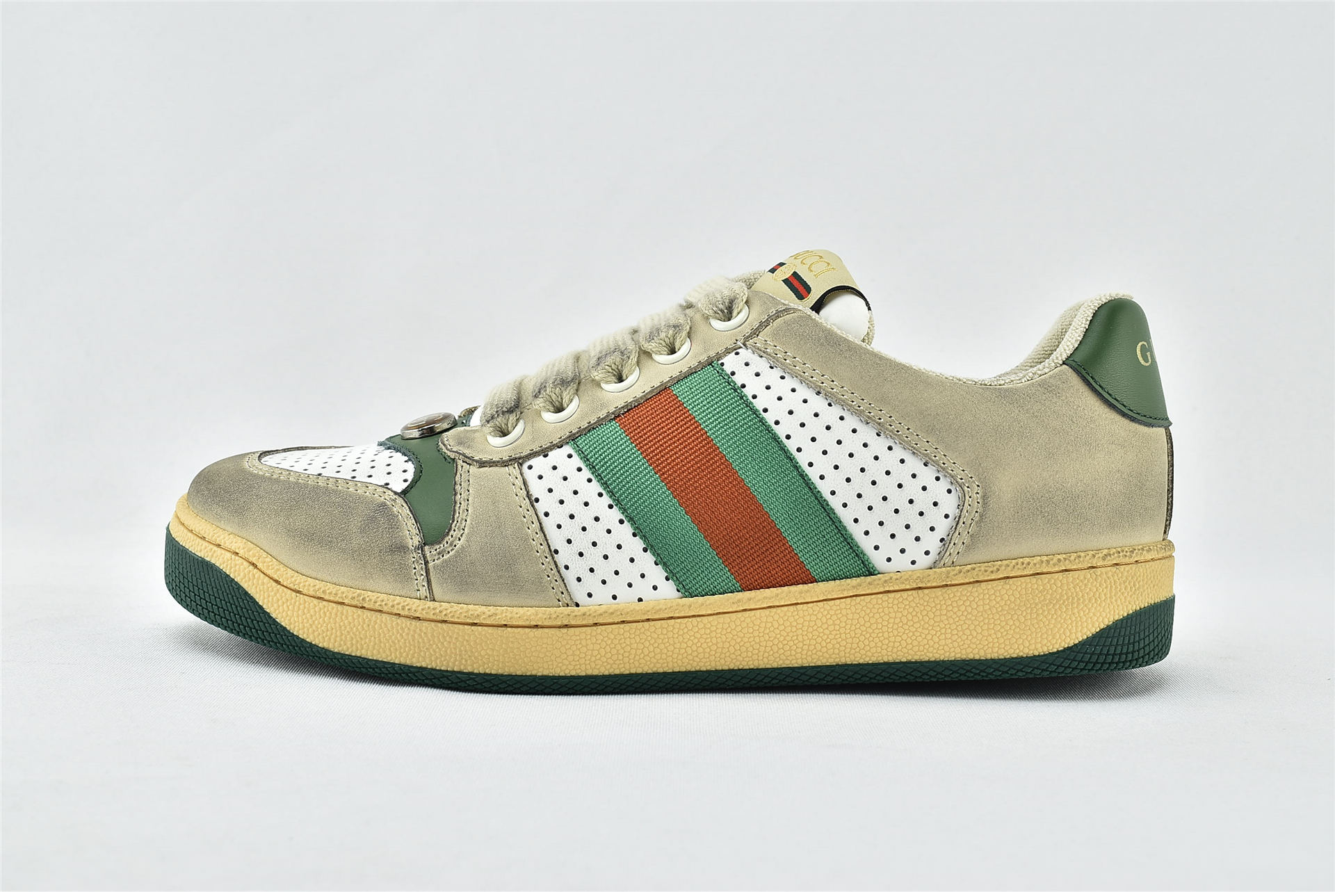 Gucci/古驰 小脏鞋 系列板鞋/灰白 红绿 经典 原版自然做旧 发售 最新包装   芯片 扫码版  男女鞋  情侣款