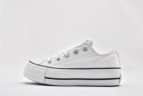 CONVERSE/匡威 2020新款 厚底低帮滑板鞋/纯白 全白 日系增高款 松糕底   过验版  货号:560251C   女鞋