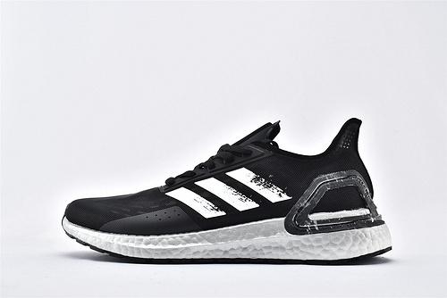 Adidas ULTRA BOOST UB 爆米花缓震跑鞋/黑白银 涂鸦 网面透气  货号:EG0428  男鞋