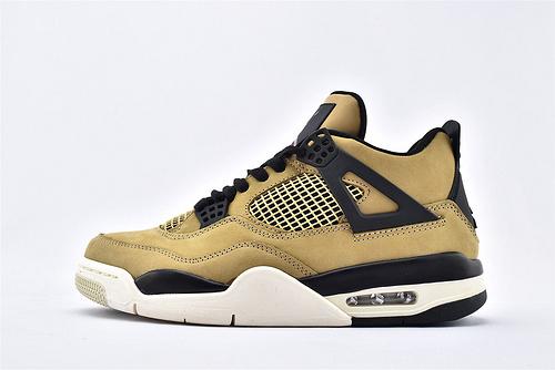 Air Jordan AJ4 乔丹4代篮球鞋/珍珠奶茶 黑棕 麂皮 纯头层 纯原版  货号:AQ9129-200  男鞋