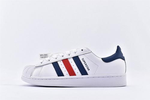 Adidas 三叶草 Superstar 贝壳头系列/白蓝红  经典款 常青款  货号:F36583  男女鞋  情侣款