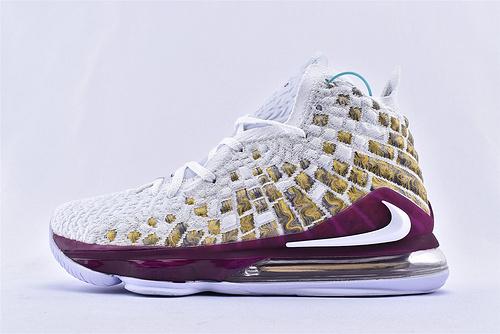 Nike LeBron 17 Bron 2K 詹姆斯17代篮球鞋/白金 紫白  货号:BQ3177-919  男鞋