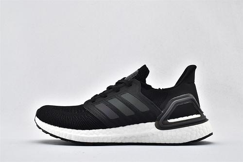 Adidas ULTRA BOOST UB 20 爆米花缓震跑鞋/黑白 镭射logo 经典  货号:EG4367  男女鞋  情侣款