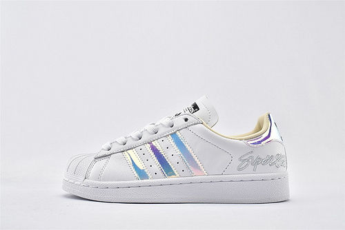 Adidas 三叶草 Superstar 贝壳头系列/白镭射 经典 头层牛皮 原盒原标  货号:EF3642  男女鞋  情侣款