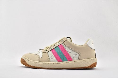 Gucci/古驰 小脏鞋 系列板鞋/灰粉绿 经典 原版自然做旧 发售    芯片 扫码版 版  女鞋