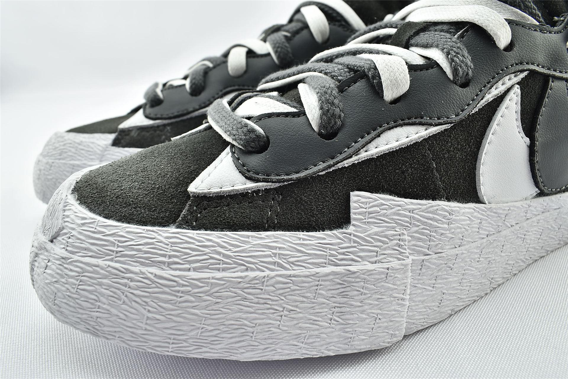 Sacai X Nike Blazer Low开拓者低帮板鞋/联名解构 黑白灰   货号:DD1877-002   男女鞋  情侣款
