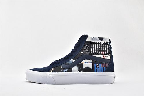 Vans/万斯 Blue Note 高帮滑板鞋/蓝白 涂鸦 人像 印花 三方联名 硫化底 原标原盒