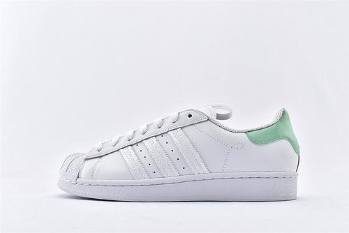 Adidas 三叶草 Superstar 贝壳头板鞋/全白浅绿尾 内侧白黑 巴黎限定 原标原盒  全头层  货号:FW2850  男女鞋  情侣款