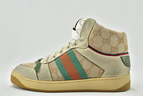 Gucci/古驰 小脏鞋 系列板鞋/高帮 灰绿老花 经典 原版自然做旧 发售    芯片 版  男女鞋  情侣款