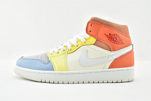 Air Jordan 1 Mid AJ1 乔丹1代中帮篮球鞋/彩色拼接 糖果彩蛋  货号:DJ6908-100  男女鞋  情侣款