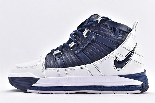 """Nike Zoom Lebron III """"Navy""""QS 詹姆斯3代篮球鞋/全明星 海军蓝  货号:AO2434-103  男鞋"""