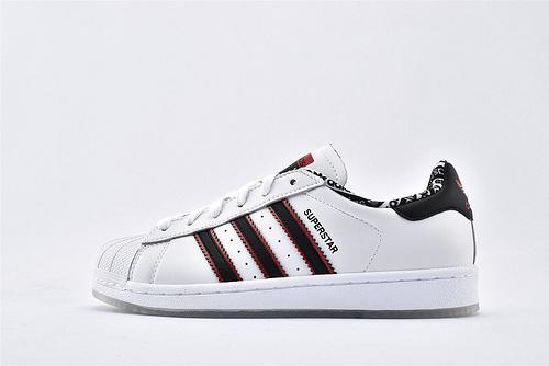 Adidas 三叶草 Superstar 贝壳头系列/50周年纪念版 白黑红 水晶底  货号:FW6593  男女鞋  情侣款