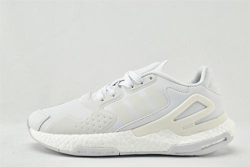 Adidas 三叶草 DAY JOGGER boost 夜行者2.0缓震跑鞋/全白 纯白 3M反光版   货号:FW4056   男女鞋  情侣款