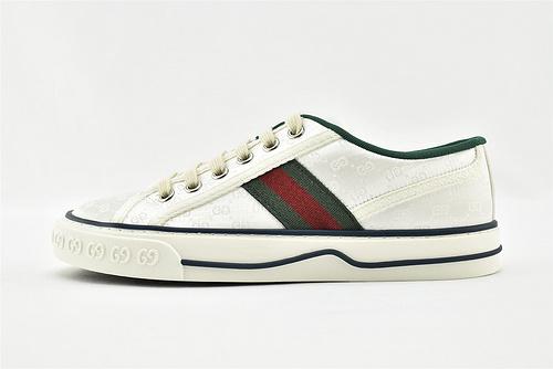 Gucci/古驰 2021新款发售 经典帆布板鞋/白绿 全套包装  升级版 芯片  男女鞋   情侣款