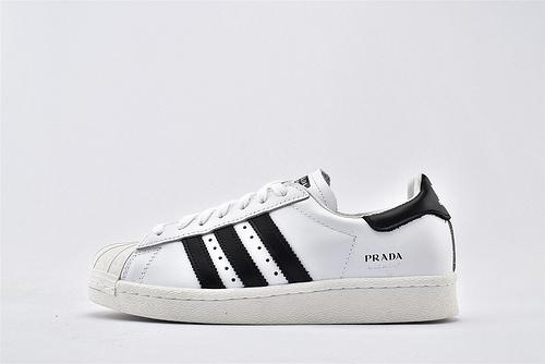 Prada x Adidas Superstar 三叶草  普拉达 高奢联名款 贝壳头系列/经典 复古 黑白  全头层  货号:FW6680  男女鞋 情侣款