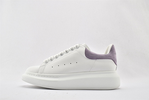 Alexander McQueen/亚历山大麦昆 松糕鞋厚底增高小白鞋/全白 紫尾   芯片 扫码 版  女鞋