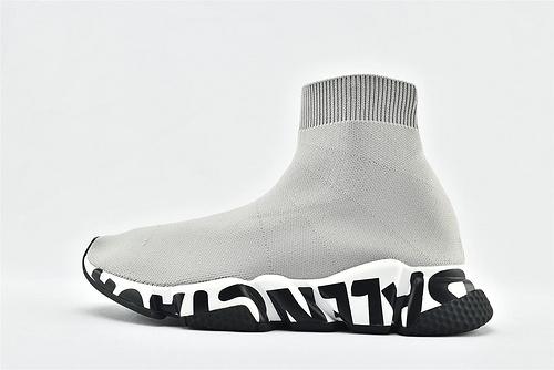巴黎世家/Balenciaga 2020款Speed Trainer 袜子鞋/灰色 字母印花   纯原版   男女鞋  情侣款