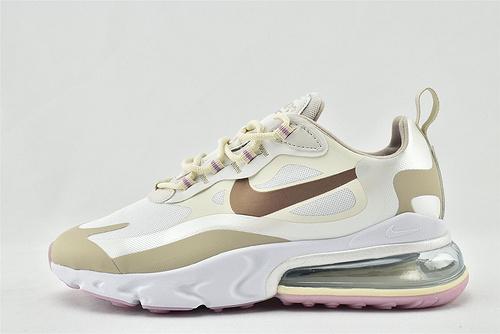 "Nike AirMax 270 React ""BAUHAUS"" 半小掌气垫气垫跑鞋/白咖 奶茶  货号:CU9333-100   男女鞋 情侣款"