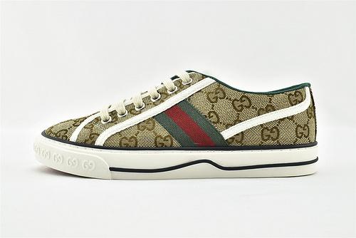 Gucci/古驰 2021新款发售 经典帆布板鞋/老花 经典 全套包装  升级版 芯片   男女鞋  情侣款