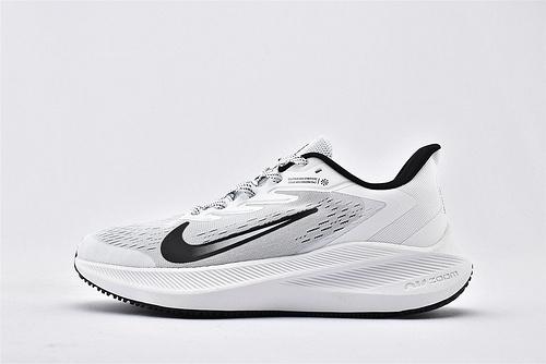 Nike Zoom WINFLO 4 登月4代网面跑鞋/白黑 内置气垫缓震 原标原盒  货号:AM0291-010  男鞋