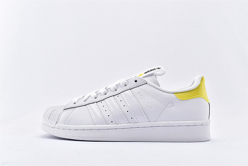 Adidas 三叶草 Superstar 贝壳头板鞋/全白黄尾 内侧内白 上海限定 原标原盒  全头层 货号:FW2856  男女鞋  情侣款