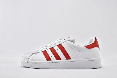 Adidas 三叶草 Superstar 贝壳头系列/白红 经典 头层牛皮 原盒原标  货号:CM8413  男女鞋  情侣款
