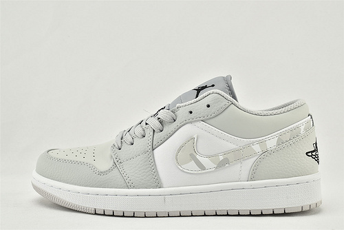 Air Jordan 1  AJ1乔丹1代低帮篮球鞋系列/白灰 白灰迷彩 雾霾迷彩  货号:DC9036-100   男女鞋  情侣款
