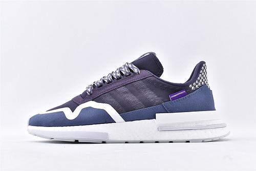 Adidas ZX 500 RM Commonwealth Friends and Family亲友限定爆米花缓震跑鞋/深蓝紫 3M反光  货号:DB3509  男鞋