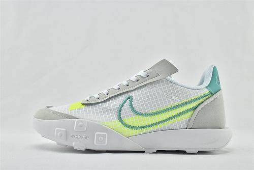 Nike WAFFLE RACER 20 秋季运动跑鞋/华夫2.0 浅灰白荧光绿  货号:CK6647-101   男鞋