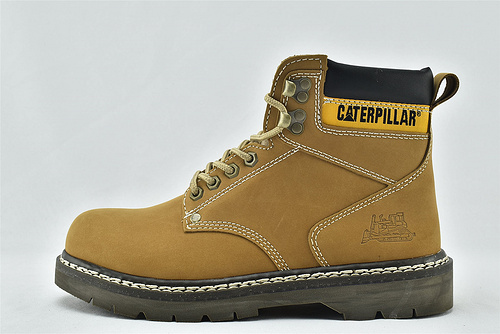 卡特/CAT 2020新版 秋款上市 高帮工装靴/经典大黄靴 水晶底 小麦色 经典款   全头层    男女鞋  情侣款
