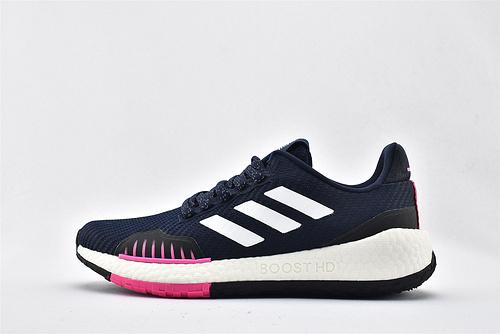 Adidas Pulse BOOST HD WNTR m UB爆米花缓震跑鞋/深蓝粉 原标原盒  货号:FU7328  女鞋