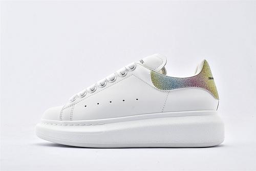 Alexander McQueen/亚历山大麦昆 松糕鞋厚底增高小白鞋/全白 彩虹尾