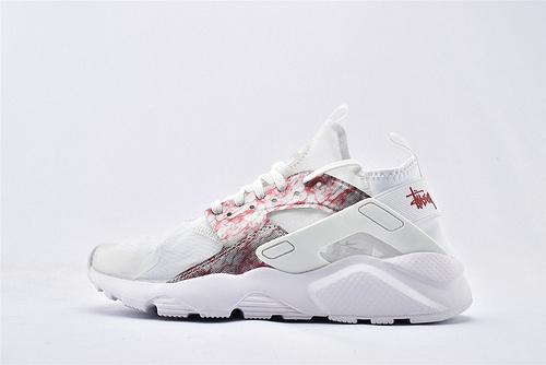 Nike Air Huarache Run Ultra 华莱士4.0系列跑鞋/全白 红迷彩 网纱透明款 2020夏季新款  货号:875868-006  男女鞋  情侣款