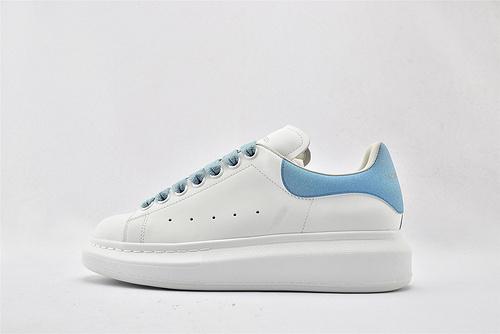 Alexander McQueen/亚历山大麦昆 松糕鞋厚底增高小白鞋/全白 蓝砖尾  芯片 扫码 版  女鞋