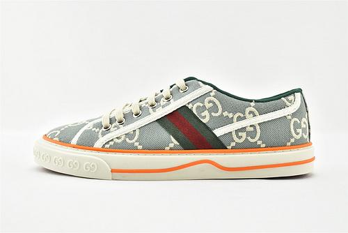 Gucci/古驰 2021新款发售 经典帆布板鞋/蓝色 印花 牛仔蓝 经典 全套包装  升级版 芯片   男女鞋  情侣款