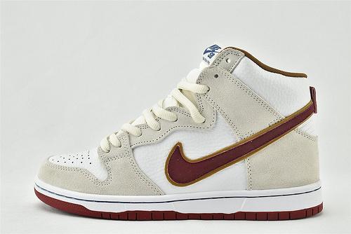Nike SB Dunk high Team Crimson高帮滑板鞋/浅灰白棕 红钩 骑士 米白红钩  货号:CV9499-100  男女鞋  情侣款
