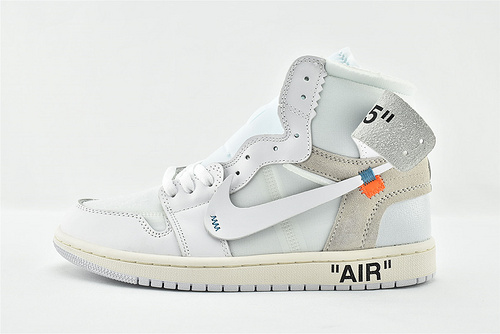 Air Jordan 1 x Off-White AJ1 乔丹1代联名款 高帮篮球鞋/款 全白 纯白  原装版   货号:AQ0818-100    男女鞋 情侣款