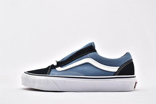 Vans/万斯 Classic Old Skool 经典低帮滑板鞋/海军蓝 黑蓝  过验版  男女鞋  情侣款