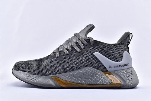 Adidas AlphaBounce Beyond M 阿尔法4.0缓震跑鞋/黑棕  货号:CG5596  男鞋