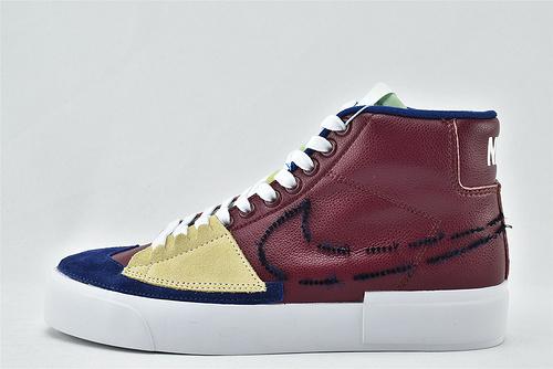 Nike SB ZOOM Blazer Mid Edge 开拓者高帮皮面板鞋/解构 拆线 酒红   货号:DA2189-600   男女鞋  情侣款