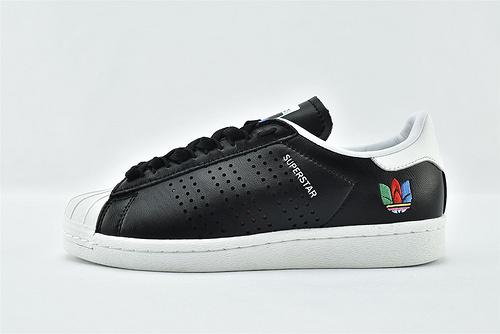 Adidas 三叶草 Superstar 贝壳头板鞋/黑白 刺绣 全头层  货号:FW5387  男女鞋  情侣款
