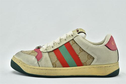 Gucci/古驰 小脏鞋 系列板鞋/灰红粉尾 老花配色 经典 原版自然做旧 发售   芯片 版   女鞋