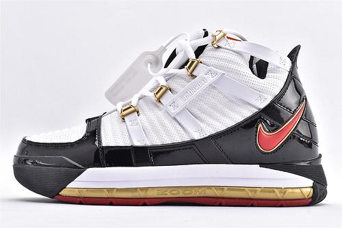 Nike Zoom Lebron III QS 詹姆斯3代篮球鞋/全明星   黑白金  货号:AO2451-101  男鞋